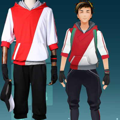 Pokemon Go Team Valor Mystic Instinct Trainer Figure Red Hoodie Cosplay Costume