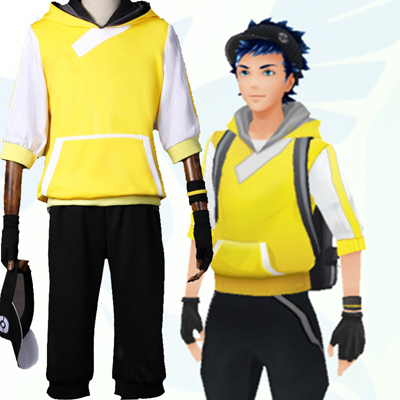 Pokemon Go Team Valor Mystic Instinct Trainer Figure Yellow Hoodie Cosplay Costume