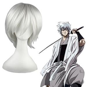 Gintama Sakata Gintoki silver white 30cm Full Cosplay Wig