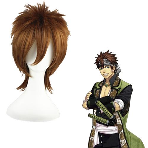 Hakuoki Nagakura Shinpachi Mixed Brown 35cm Full Cosplay Wig