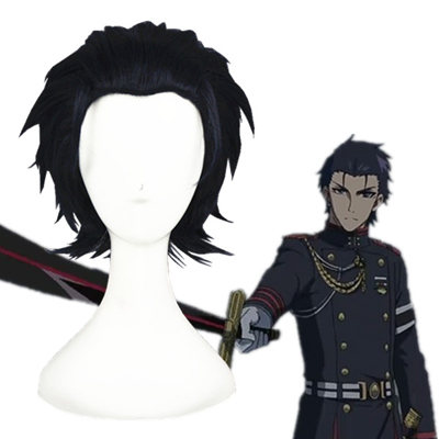 Seraph of the End Guren Ichinose Blue Black Cosplay Wig