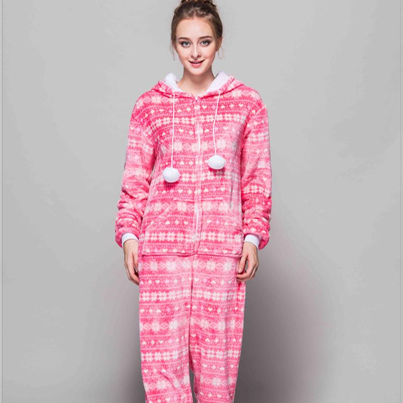 Adult Pajamas Snowflake Flannel Kigurumi Pajamas