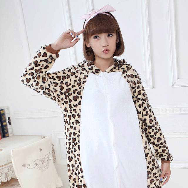 Adult Pajamas Animal Leopard Bear Flannel Kigurumi Pajamas