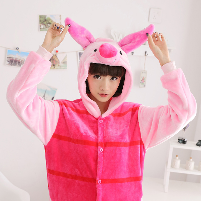 Adult Pajamas Animal Pipi pig Flannel Kigurumi Pajamas