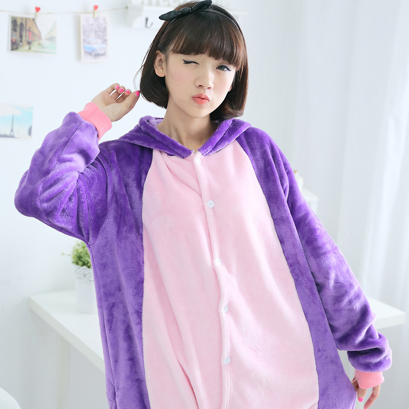 Adult Pajamas Animal Purple Cat Flannel Kigurumi Pajamas