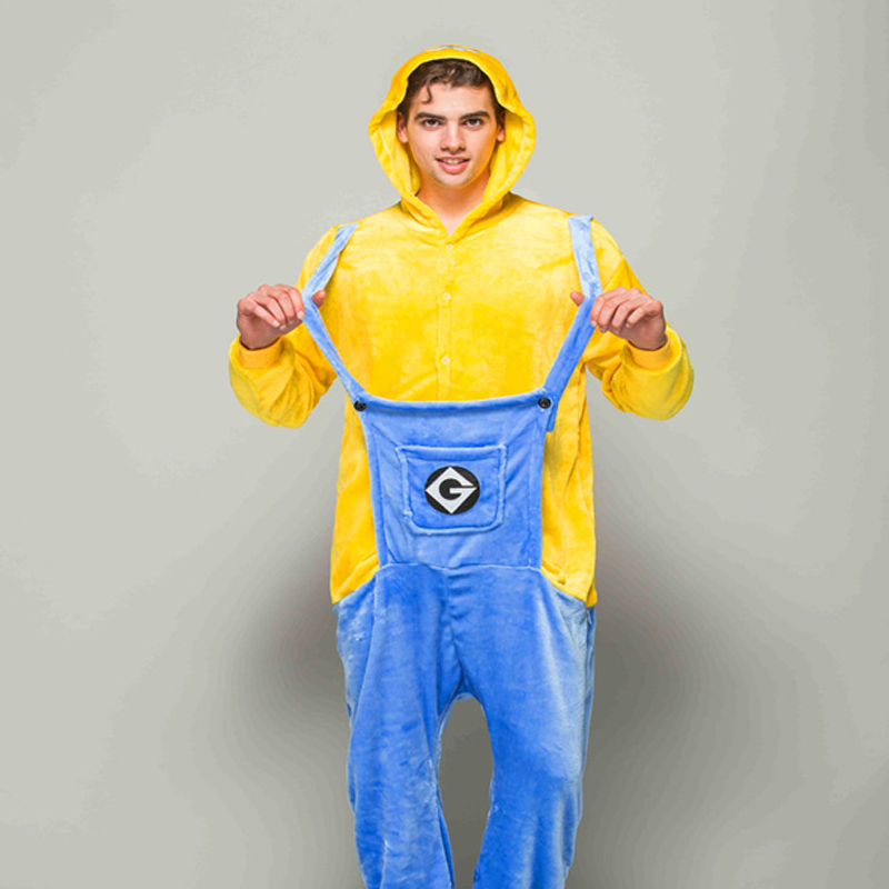 Adult Animal Pajamas Minions Flannel Kigurumi Pajamas