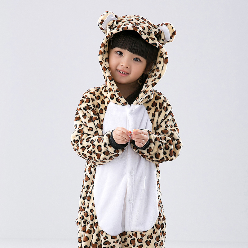 Child Animal Pajamas Leopard Bear Flannel Kigurumi Pajamas
