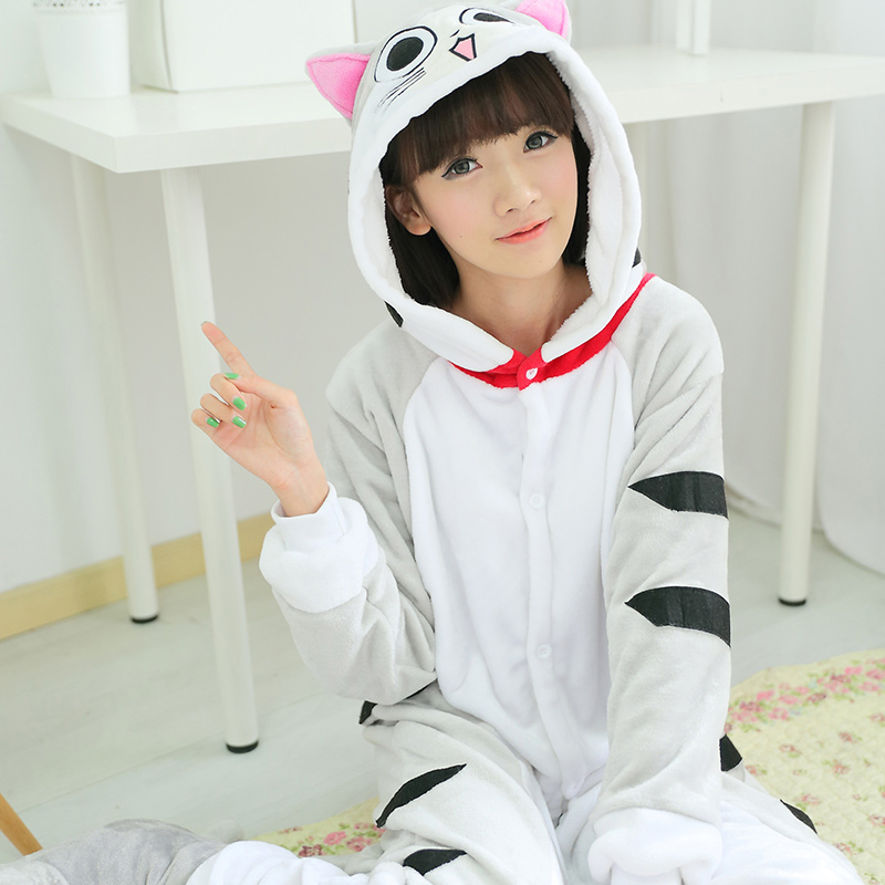 Adult Animal Pajamas Cheese Cat Flannel Kigurumi Pajamas