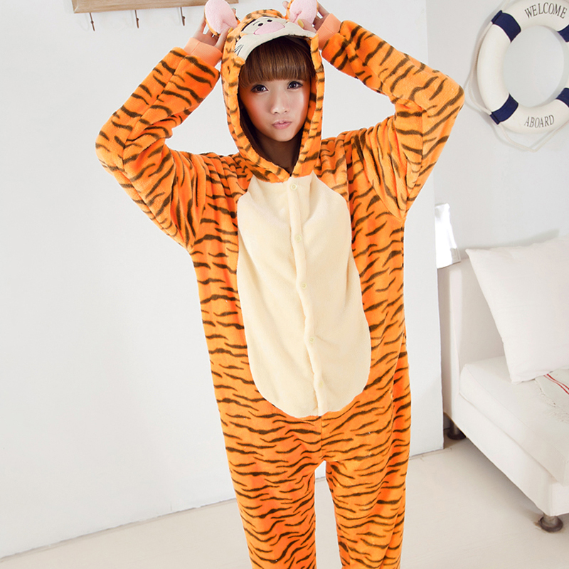 Adult Animal Pajamas Tigger Flannel Kigurumi Pajamas