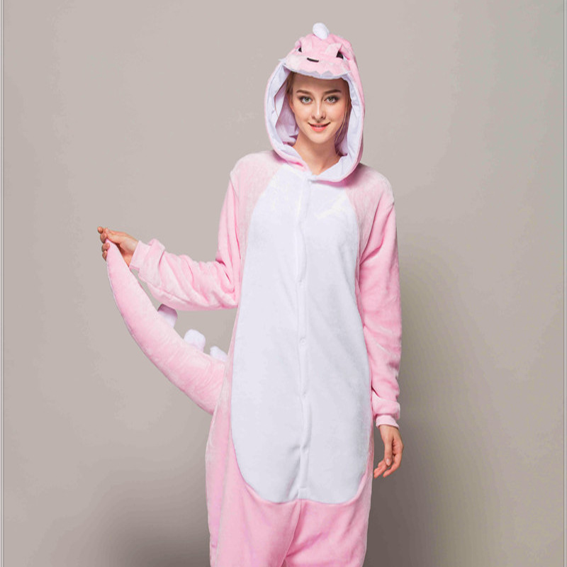 Adult Animal Pajamas Pink Dinosaur Flannel Kigurumi Pajamas