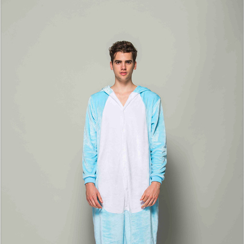 Adult Pajamas Animal Blue Rabbit Flannel Kigurumi Pajamas