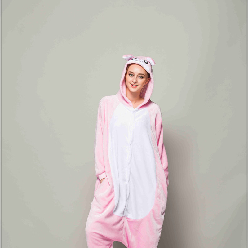 Adult Pajamas Animal Pink Rabbit Flannel Kigurumi Pajamas