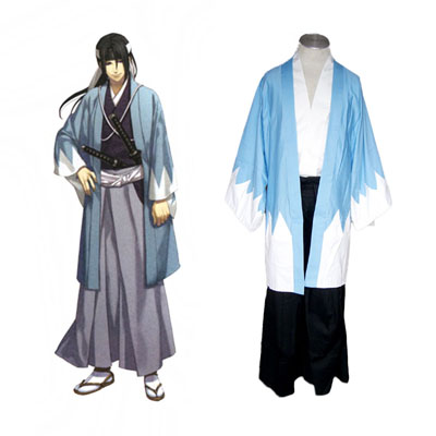 Deluxe Peacemaker Kurogane Okita Souji Blue Swordsman Cosplay Costume