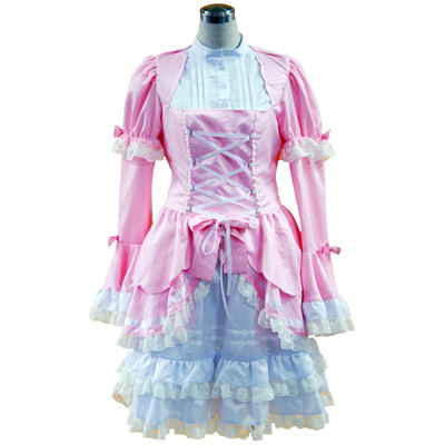 Deluxe Lolita Culture Pink and White Sleeveless Short Dresses Cosplay