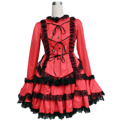 Deluxe Lolita Culture Coat Tire Red Middle Dresses Cosplay Costumes