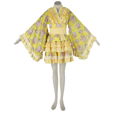 Deluxe Lolita Culture Yellow Cloth Tire Short Dresses Kimono Cosplay Costumes