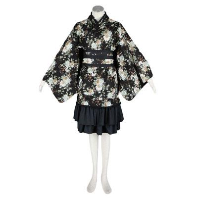 De lujo Disfraces de Lolita Cultura Black Partern Kimono Middle Vestidos Cosplay
