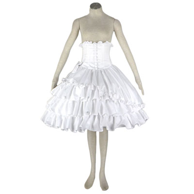 Deluxe Lolita Culture Girdle White Bows Half Dresses Cosplay Costumes