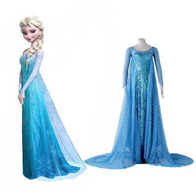 Frozen Elsa 1ST Blue Cosplay Costumes Deluxe Edition