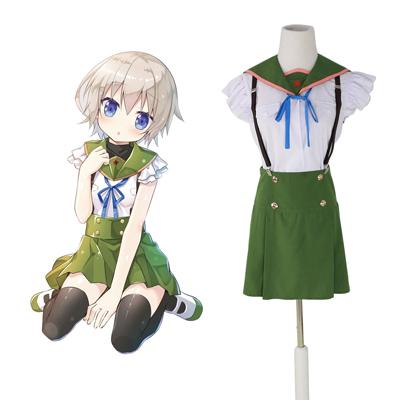 School-Live! Ebisuzawa Kurumi 1 Green Sailor Cosplay Kostymer