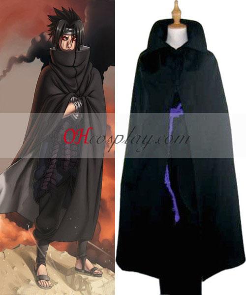 Naruto Shippuuden Uchiha Sasuke svart kappe Cosplay kostyme