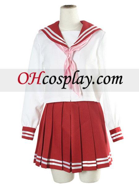 Červená a biela dlhé rukávy školskú uniformu kroj Cosplay