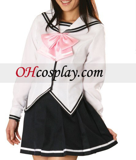 Biela bunda čierna sukňa dlhé rukávy školskú uniformu kroj Cosplay