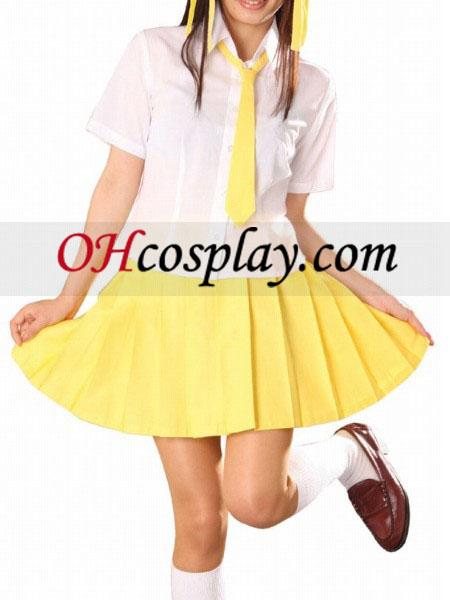 Krátke rukávy žltá školskú uniformu Cosplay kroj sukňa