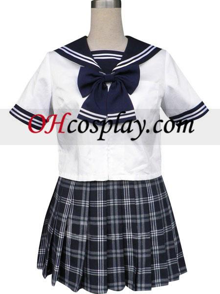Kráľovská modrá krátke rukávy Grid - námorník jednotné Cosplay kroj sukňa