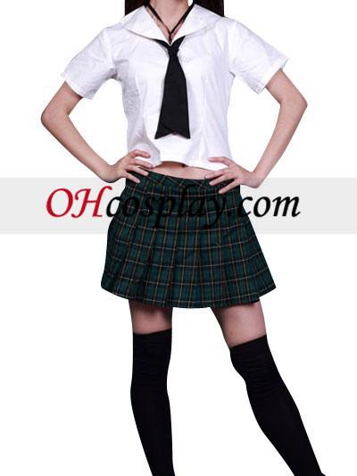 High waisted Short Sleeves Grid Skirt School Uniform Cosplay Costume