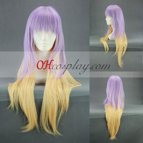 Touhou Project Hijiri Byakuren púrpura y amarillo de la peluca de Cosplay