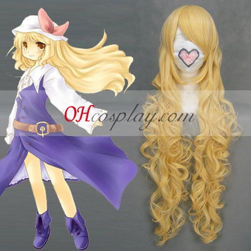 Touhou Project Watatsuki noToyohime Yellow Wave peluca de Cosplay