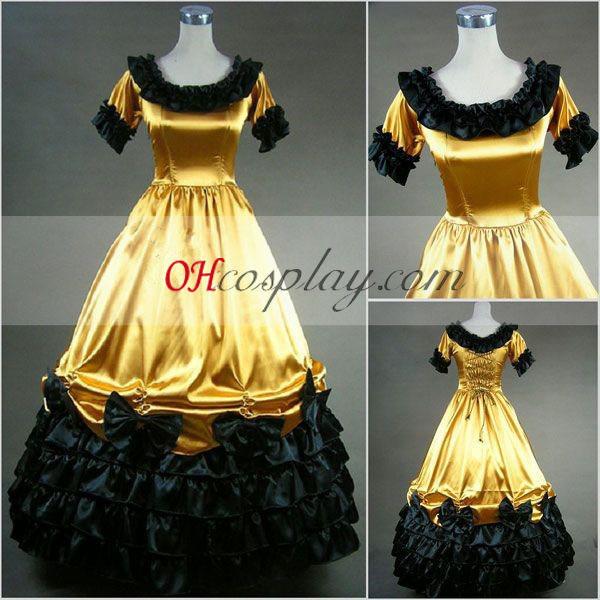 Amarelo manga curta vestido Gótico Lolita