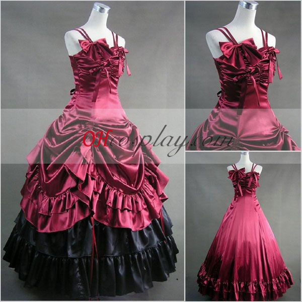 Ermeløs rød gotiske Lolita kjole