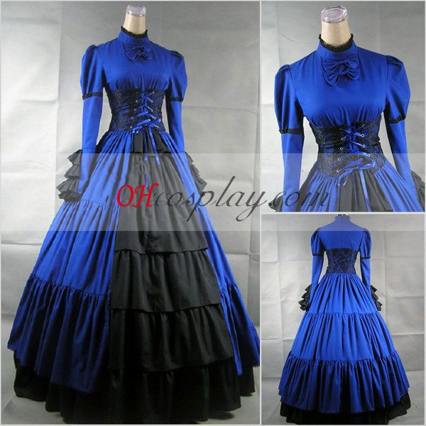 Blue Long Sleeve Gothic Lolita Kleid