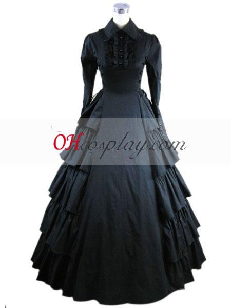 Negro manga Gothic Lolita Vestido Largo