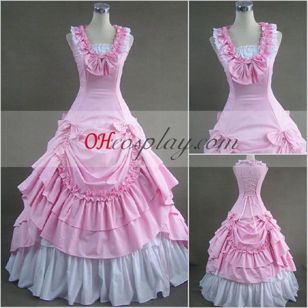 Rosa sin mangas vestido lolita gótica