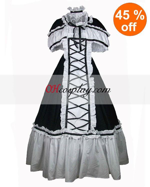 Algodón Negro y blanco del cordón volantes vestido lolita gótica
