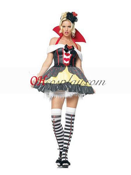 Alice in Wonderland Queen of Hearts Cute Cosplay Costume