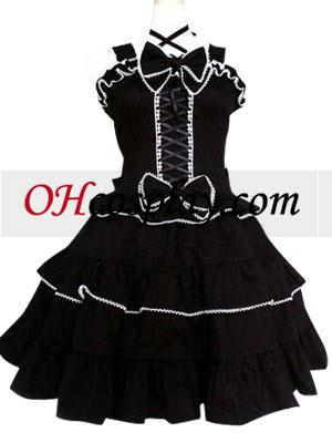 Negro Gothic Lolita Cosplay del vestido