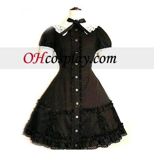 Negro corsé de encaje vestido lolita cosplay Traje