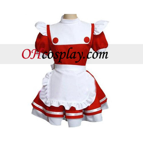 Maid Red-white Uuniform lolita cosplay