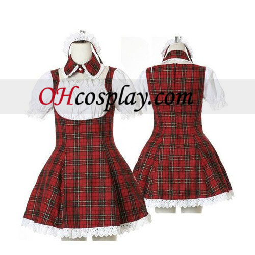 Plaid Maid Cosplay Lolita Cosplay Traje Dulce Roja