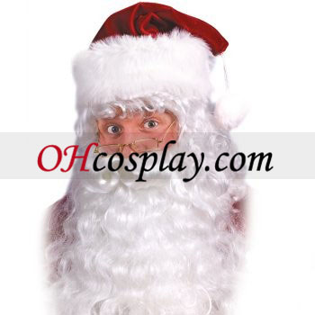 Santa Claus barba blanca y pelo