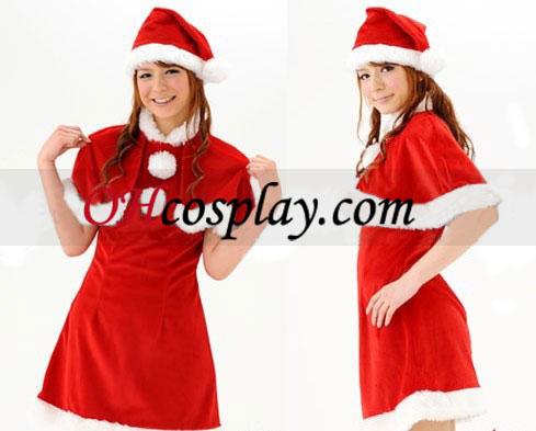 Jul kort rød kant Cosplay kostyme