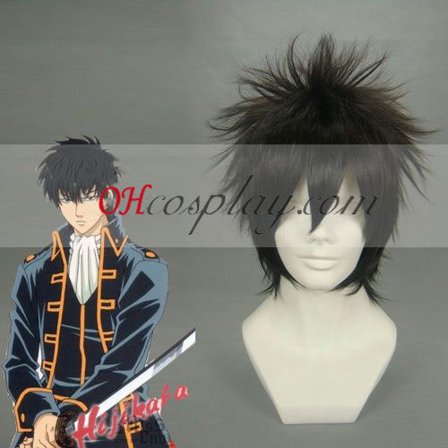 Gintama Hijikata Toushirou Cosplay peruukki musta