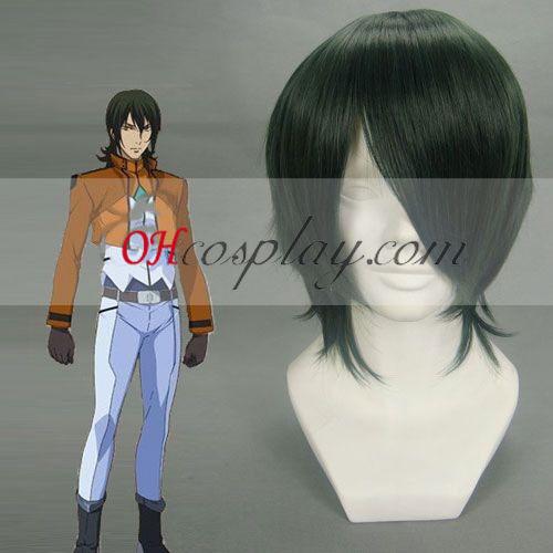 Gundam 00 Allelujah Haptism verde oscuro cosplay peluca