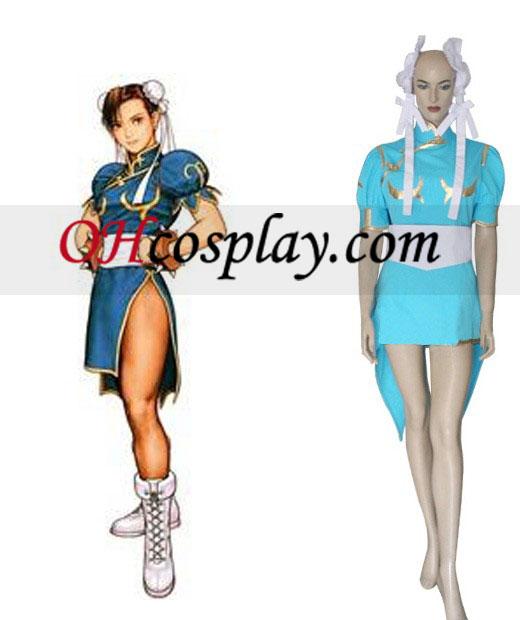 Street Fighter Chun Li azul cosplay