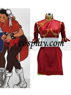 Street Fighter Chun Li røde Cosplay kostyme