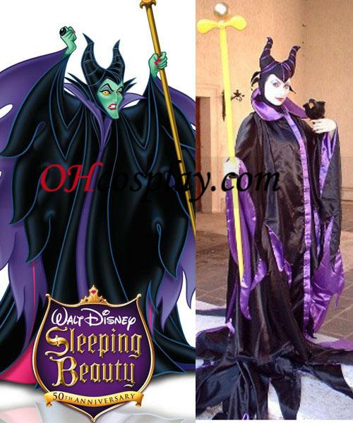 Disneys reina malvada Maleficent de Halloween cosplay
